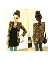 Women Misses Lady Fashion Leopard Suit Shoulder Pads Long Sleeve Suit Jacket Blazer