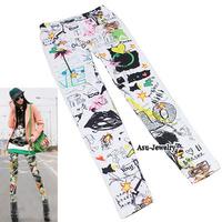2014 New Fashion Korean Graffiti Pattern Fit Slim Cloth Jeans Render  Pants Leggings For women