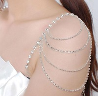 Free shipping  fashion noble bride shoulder crystal chain underwear pectoral girdle layered rhinestone Shoulder strap wholesale