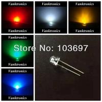 5 Valuesx2000pcs/Color=10000pcs New 5mm Ultra Bright Straw Hat Red/Green/Blue/White/Yellow LED Lamp bulb