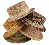 2013 New Fashion Floral Print Women's Lace Cotton Hat 2 Colors White and Coffee