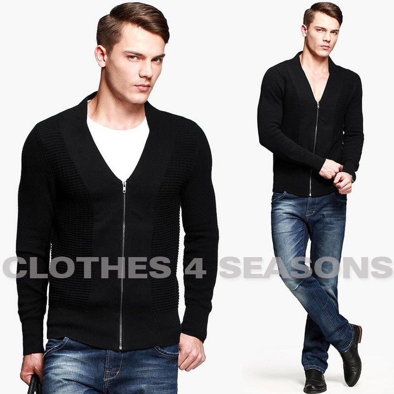 [해외]Mens fashion knitting cardigan zipper sweater contra..