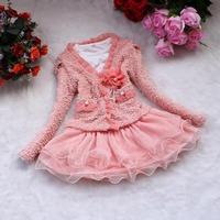Beautiful good quality Spring and Autumn 2013 new Korean girls lace Taoqun dress jacket Sets