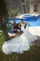 GL1401 Sexy Backless Beads Mermaid Royal Train Wedding Dress 2014 New Style Wedding Dress HL010