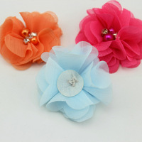 Diamond flower hair accessories handmade chiffon flowers