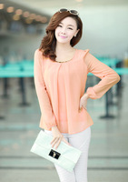 Plus Size Casual Long Sleeve Chiffon Blouse Shirts For Women W4279