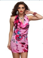 New women  Fashion Sexy 4colour Sexy lingerie backless dress Flower Printed clubwear Lady nighty chemise 6080