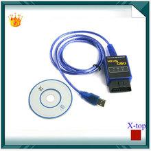 Auto Car Diagnostic Cable ELM327 elm 327 USB Interface OBD II OBD2 OBD 2 OBD-ii Scanner Car code reader  WA0003