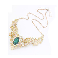 Hot Fashion Necklace Statement Vintage V-shaped Hollow Flower Pattern Oval Crystal Choker Necklaces YN006