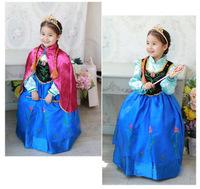 586 2014 New Summer FROZEN  Anna Elsa Princess Tutu Long Formal Dress For Children Girls Party Show Wedding 3 Pcs/Lot