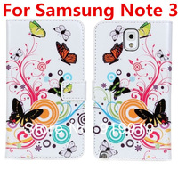 Butterfly Flower Flip Wallet Card Holder Stand PU Leather Case Cover for Samsung Galaxy Note III 3 N9000 free shipping