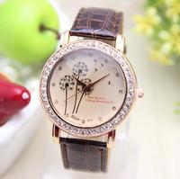 11 colors New Fashion Dandelion watch Leather strap watch women rhinestone watches women dress watch 1pcs/lot