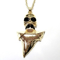 free shipping 6pcs/lot  fashion jewelry items metal rhinestone shark tooth skull pendant necklace