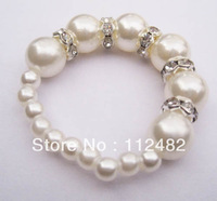Free Shipping 200pcs / lot white Pearls & crystal Napkin Rings Hotel Wedding Supplies