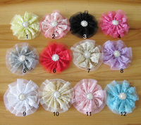 Ebay child double layer lace gauze hair accessory pearl rhinestone 12 5 w