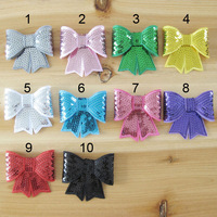 Child hair accessory clothing accessories computer embroidery flashing big bow sequin 10 4 w