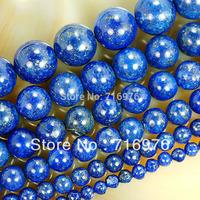 """wholesale 4.6.8.10.12.14mmNatural Lapis Lazuli Beads 15.5"""" Pick Size Free Shipping-F00078"""