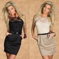 2014 New Summer Dress Vestidos Femininos Women Office Dress Sexy Party Dress with belt Novelty Lace Print Casual Dresses 9031