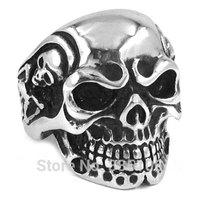 Free Shipping! Retro Vintage Jewelry Gothic Skull Biker Ring Stainless Steel Jewelry Men Motor Biker Ring Wholesale SWR0082