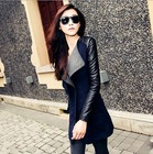 High Quality Autumn Winter New In Black Navy Blue Red Contrast PU Leather Sleeve Zipper Woolen Coat For Woman Size S- XL(China (Mainland))