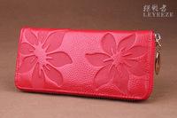 Genuine leather women wallet Korean style handbag brand designer flower bag women coin purse small chain zipper bag wholesale