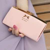 Free Shipping 2013 Metal Bow Clip Women'S Wallet Female Long Design Genuine Leather Bags