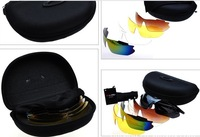 High Quality One Set Sports Sunglasses 5 Pairs Lens Black PC Fram Men's Riding Sun Glasses Fishing Glasses Driving Glass