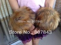 NEW 2013  fahion  Luxury Women Faux Raccoon Fur Short Winter Wrist Arm Warmer Cuff Wristband
