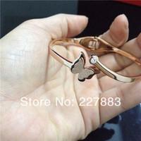 MOQ 6 pcs new titanium steel rose gold plated crystal butterfly titanium steel bangle bracelet