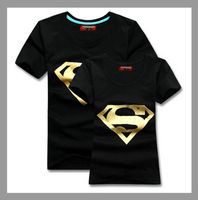 Superman T Shirt Lovers clothes Women's Men's casual gold stamping O neck short sleeve t-shirts for couples S- XXXL Cotton tees