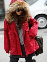 1 piece dropship Women parkas winter warm and slim faux fur collar down jacket fashion cotton coat Free size