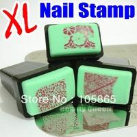 BIG Rectengular Nail Rubber Stamp & Metal Scraper XL Square Stamper / Transfer Polish Image Design Stamping Plate Print Template
