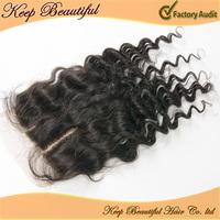 "5""x 5"" Lace Top Closure Deep Wave Hair Extension Natural Black 10-20inch Swiss Lace Closure 3 Part Bleached Knots Lace Closure"