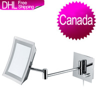 Canada Free Freight GREENFROM Square Single Side Swivelling LED Bathroom Wall Shaving Magnifying Makeup Mirror