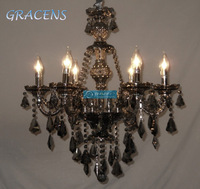 HOT! D580mm H675mm 6 Arms Black Chandelier Light with K9 Crystal and 3 Year Warranty (A CCSPB6802-6) Free Shipping