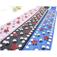 Personalized Colorful Rhinestone Dog Collar , 2 Inch Wide Studded PU Leather Large Dog Collar