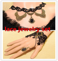 women jewelry romantic  royal  vintage lace femal wedding accessories .Lace jewelry necklace and bracelet sets. new jewelry sets