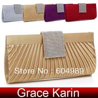 Free Shipping Grace Karin New Style Women Formal Bridal Women Hard Shell Rhinestone Clutch Bag Chain Shoulder Evening Bags GZ584