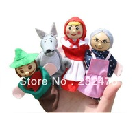 New arrival baby toys 4pcs/Set Little Red Riding Hood Christmas Animal Finger Puppet toy kid Educational Toys Storytelling Doll