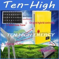 Fedex freeshipping! 1000W 48V wind turbine+4*100W solar panle+On-grid hybrid controller+1500W grid tie inverter