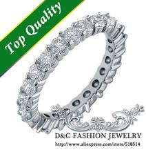 Eternity Wedding Band Full Simulated Diamonds Wedding Rings for Women Prong Setting Men/Women Jewelry Y041(China (Mainland))