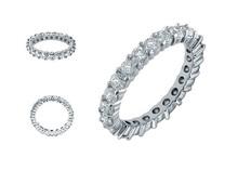 Eternity Wedding Band Full Simulated Diamonds Wedding Rings for Women Prong Setting Men Women Jewelry Y041