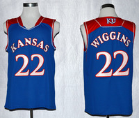 Kansas Jayhawks Andrew Wiggins NCAA Basketball Authentic Jersey,Size:S,M,L,XL,2XL,3XL.