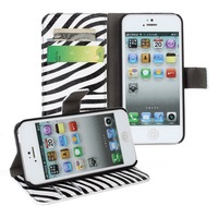 Stripe Zebra Leather Wallet Case Stand Cover for iphone5/5s With Card Slot
