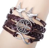 CCB258 Fashion Leather Bracelet Big Round Life Tree Charms Bracelet With Double Small Brids Leather Bracelet