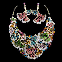 Elegant Dancer Gold Plated Multi Ginkgo Biloba Leaf Bridal Wedding Accessories,Women Christmas Necklace & Earrings Jewelry Sets