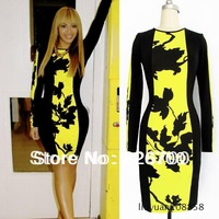 2013 Autumn Womens Celeb O-Neck Long Sleeve Contrast Floral Print Color Block Stretch Bodycon Dress #R0019