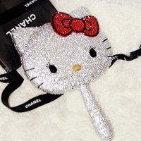 hello kitty mirror  full rhinestone makeup mirror rhinestone handle diamond mirror