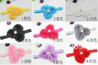 Free Shipping WHOLESALE DOUBLE CHIFFON Frayed Rosette FLOWER Baby Girl HEADBAND ,24 pcs/lot