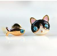 fashion cute animal jewelry wholesale fish kitten blue Rhinestone  stud earrings jewelry kitten fish earrings
